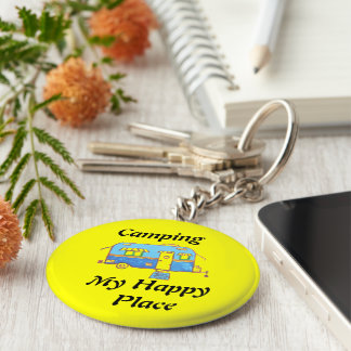 Camping My Happy Place Basic Round Button Keychain