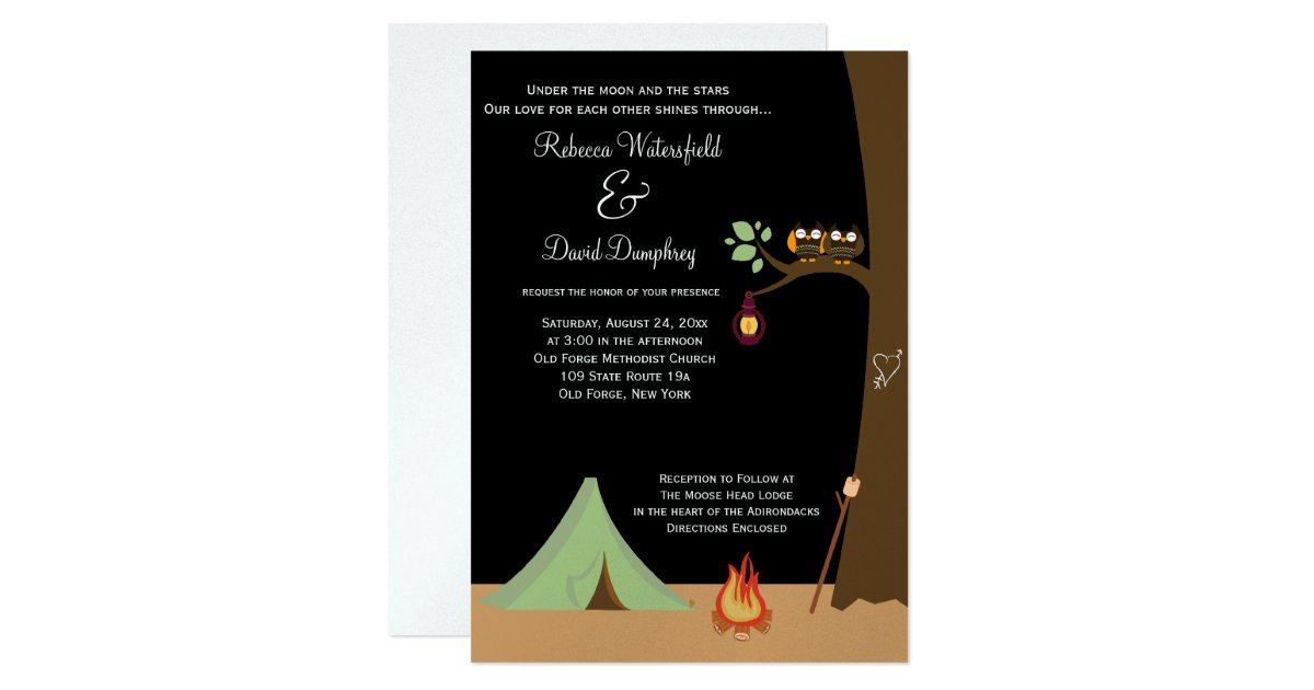 Nature Themed Wedding Invitations Camping Nature Theme Wedding Invitation Zazzle