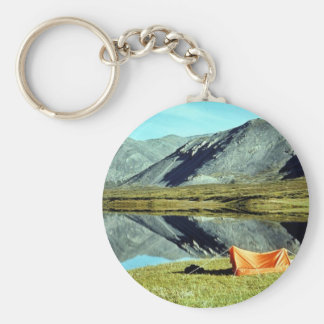 Camping on unnamed lake in Brooks Range Basic Round Button Keychain