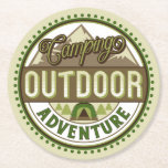 """Camping Outdoor Adventure Coaster<br><div class=""""desc"""">Camping Outdoor Adventure design with tent,  trees and mountian in tan,  greens and browns. Tough,  durable,  and absorbent. 4"""" x 4""""sturdy 50 pt. pulp board. Sold as sets of 6.</div>"""