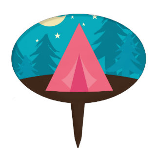 Camping Party Cake Topper