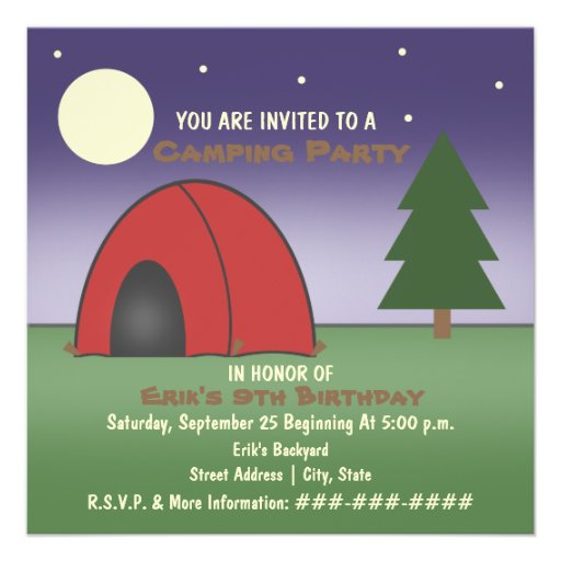 Camping Party Invitation