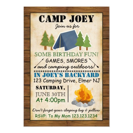 camping party invitation zazzle com