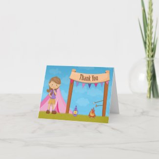 Camping Party Thank You Card zazzle_card