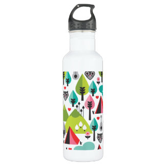 Camping pattern owl illustration stainless steel water bottle