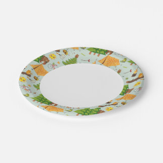 Camping Pattern Paper Plate