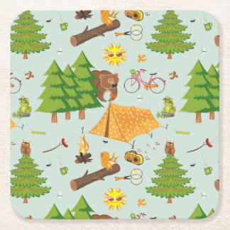 Camping Pattern Square Paper Coaster