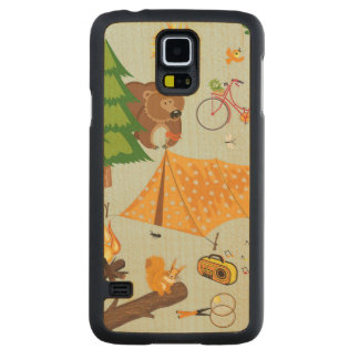 Camping Pattern Carved® Maple Galaxy S5 Slim Case