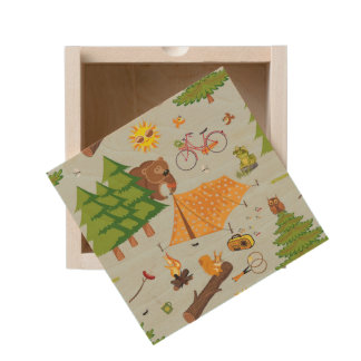 Camping Pattern Wooden Keepsake Box