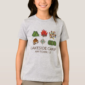 Camping Personalized Summer Camp Tent Fire S'mores T-Shirt