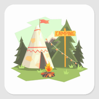 Camping Place With Bonfire, Wigwam And Forest Square Sticker