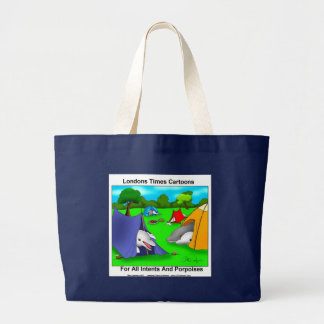 Camping Porpoises Funny Pun-Lovers Large Tote Bag
