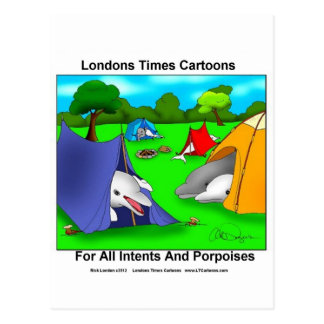 Camping Porpoises Funny Pun-Lovers Post Card