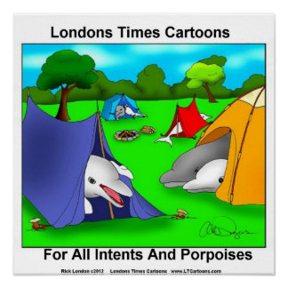 Camping Porpoises Pun-Lovers Poster