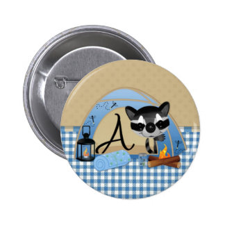 Camping Raccoon Alpha A 2 Inch Round Button