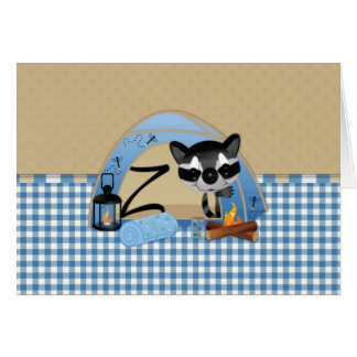 Camping Raccoons Letter Z Card