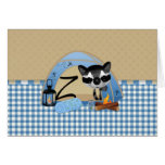 Camping Raccoons Letter Z Greeting Card