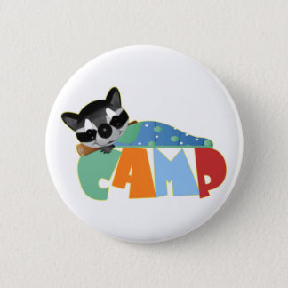 Camping Racoon Pinback Button