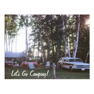 Camping, Retro Campground and Gear Vintage Travel Postcard