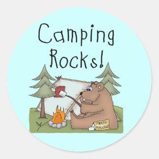 Camping Rocks Classic Round Sticker