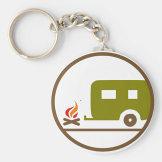 Camping RV Trailer And Campfire Keychain