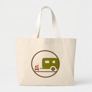 Camping RV Trailer And Campfire Large Tote Bag
