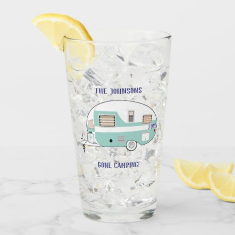 Camping RV Trailer Camper Beer Pint Drinking Glass