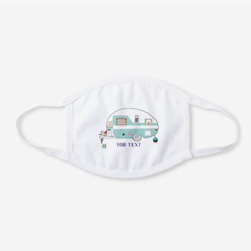 Camping RV Trailer White Cotton Face Mask