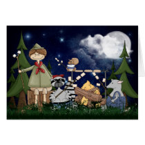 Camping Scout Boy with Raccoon and Opossum