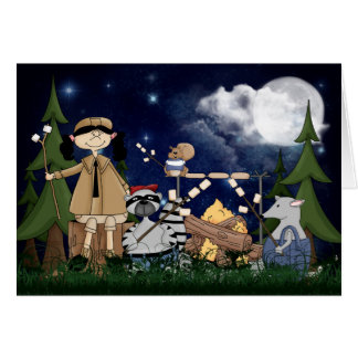 Camping Scout Girl with Raccoon and Opossum Card