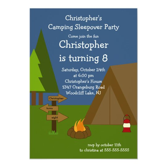 Camping Sleepover Boys Birthday Invitation