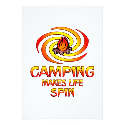 "Camping Spins 5"" X 7"" Invitation Card"