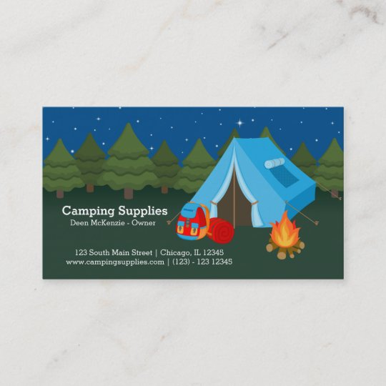 big sale c0096 f29a9 Camping supply store business card