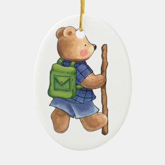 Camping Teddy Bear Double-Sided Oval Ceramic Christmas Ornament