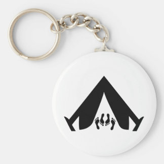camping tend couple basic round button keychain