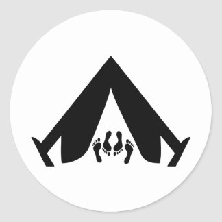 camping tend couple classic round sticker