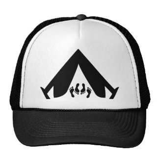 camping tend couple trucker hat