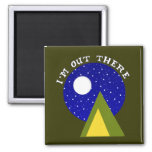 Camping Tent and Starry Full Moon Night Sky Magnet