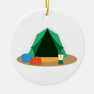 Camping Tent Double-Sided Ceramic Round Christmas Ornament