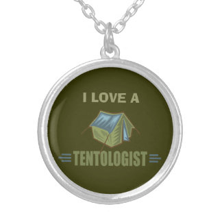 Camping, Tent Silver Plated Necklace