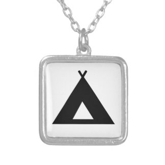 Camping Tent Silver Plated Necklace