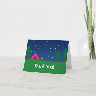 Camping Thank You Girls card