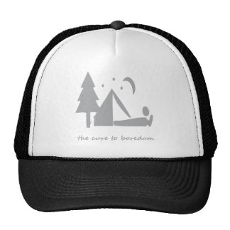 Camping.....the cure to boredom trucker hat
