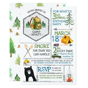 camping birthday invitations zazzle