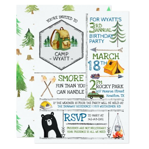 Camping Themed Party _ Badges  Icons Invitation
