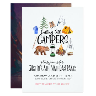 camping invitations zazzle