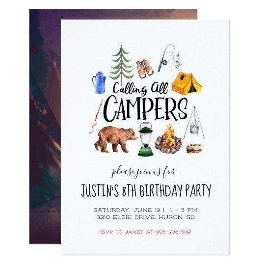 camping themed party invitation zazzle com