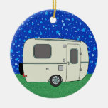 Camping Trailer Double-Sided Ceramic Round Christmas Ornament