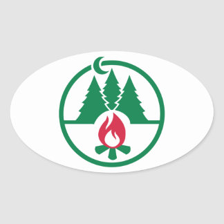 Camping trees campfire oval stickers