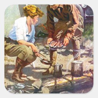 Camping trip square sticker